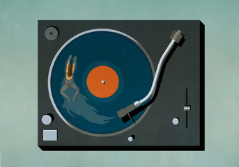 Woman swimming in vinyl record player