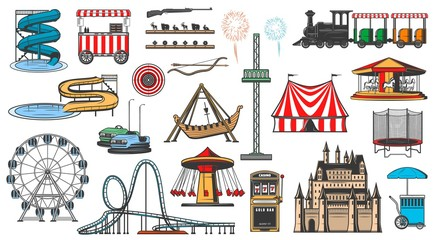 Amusement park attractions and rides, vector icons. Funfair carnival entertainment, aquapark water slides, karting and Ferris wheel, carousels, slot machine, fireworks and ice cream vendor cart Fotobehang