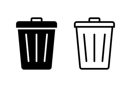 Trash bin. Vector isolated icons. Black vector trash dusbin sign icon isolated elements.