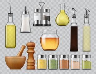 Kitchen spices and seasonings dispensers, salt and paper shakers in holder, vector realistic mockups. Cooking oil and sauce bottle with nozzle, herbs shaker, mortar and pestle, glass jugs and pitchers