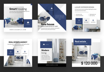 Social Media Post Layout Set with Dark Blue Accent