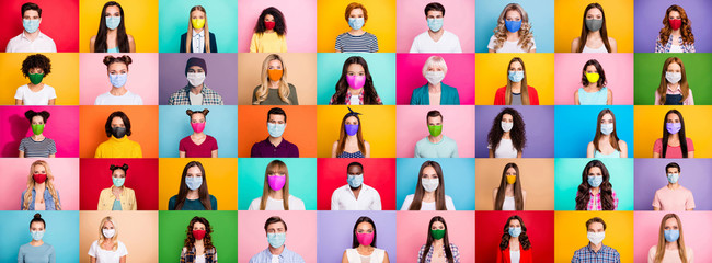 Photo on textile frame Akt Photo multiple montage image of student kid afro human people of different age and ethnicity wearing surgical disposable and fabric breathing masks isolated over bright colorful background