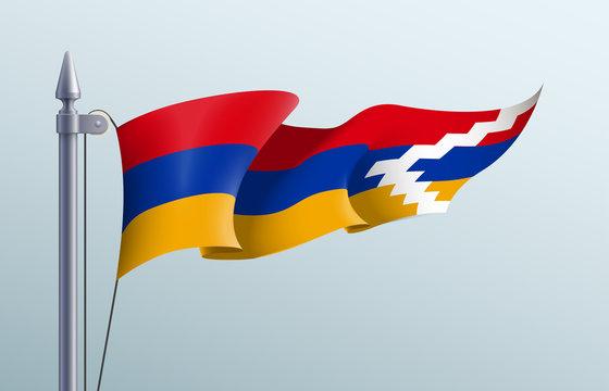 Nagorno-Karabakh flag state symbol isolated on background national banner. Greeting card National Independence Day Republic of Artsakh Nagorno-Karabakh. Illustration banner with realistic state flag.