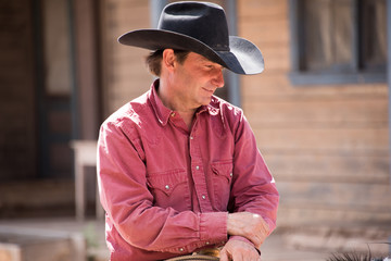 Portrait of a cowboy on his horse