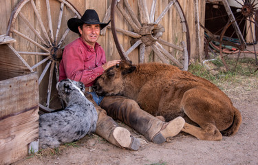 Cowboy rests with his dog and baby buffalo