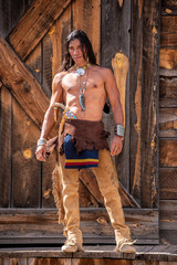 Native American man in traditional clothing