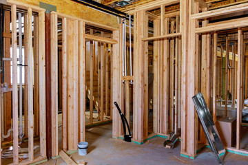 Basement unfinished under construction residential home framing