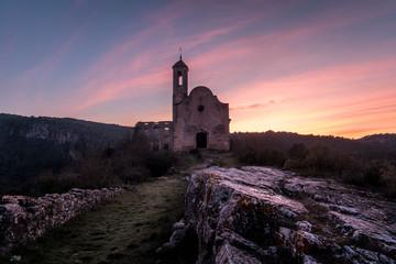 Church castle sunset sky colors Fotobehang