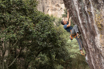 One man rock climbing in Jilotepec, Mexico