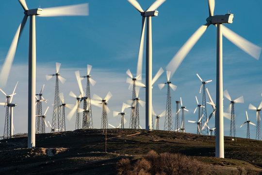 Windmills Dot the California Mountainside near Mojave Desert