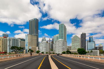 Cityscape Skyline of Buildings in the Brickell Financial District, FL