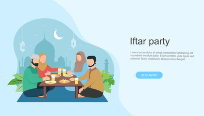 Islamic family Iftar eating After Fasting. Family dinner on Ramadan Kareem or celebrating Eid mubarak.  landing page or hero image templates, banners, poeter and social media.