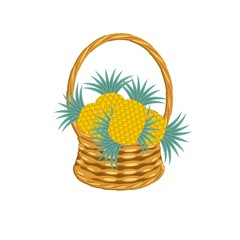 Pinapple in basket wicker with a vine. Tropical fruit art design elements object isolated stock vector illustration for web, for print