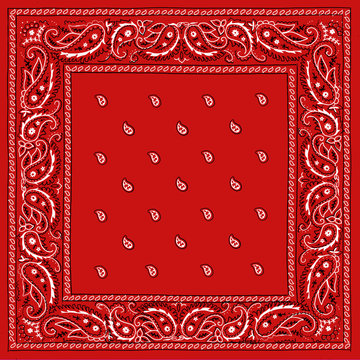 Red Bandana Square Print