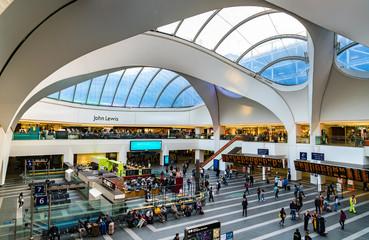 Birmingham, United Kingdom - September 7, 2019: Interior of Birmingham New Street railway station, the largest and busiest of railway station in Birmingham city centre
