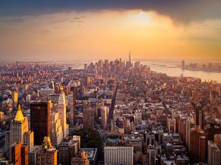 New York City illuminated by the rising sun Wall mural