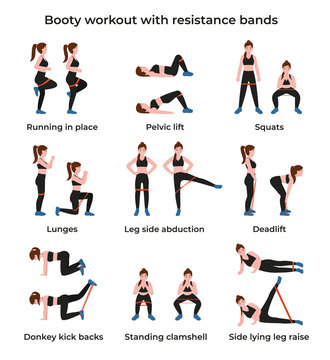 Booty or glutes workout with resistance bands. Leg side abduction concept, lateral leg lifts. Stay home and do sport. Flat vector cartoon modern illustration.