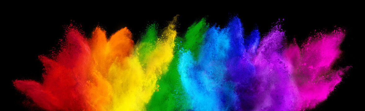 colorful rainbow holi paint color powder explosion isolated dark black wide panorama background. peace rgb beautiful party concept