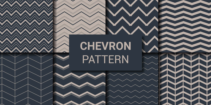 Set of chevron zig-zag geometric seamless pattern vector illustration.