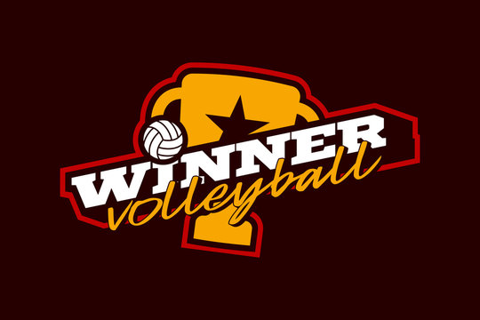 Winner volleyball vector logo. Modern professional Typography sport volleyball ball and cup in retro style vector emblem and template logotype design.