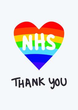 THANK YOU NHS rainbow vector - Coronavirus pandemic 2020