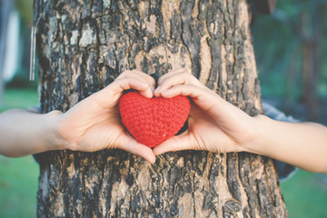 Cropped Image Of Woman Holding Knitted Heart While Hiding Behind Tree