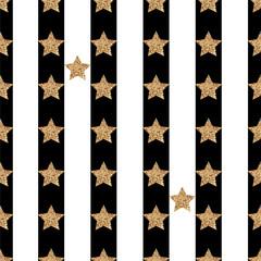 Texture vectorielle avec des étoiles brillantes dans un style glamour Modèle sans couture avec des étoiles de paillettes d& 39 or sur un fond rayé noir et blanc
