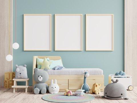 Interior kids room wallpaper/Mockup posters in child room interior.