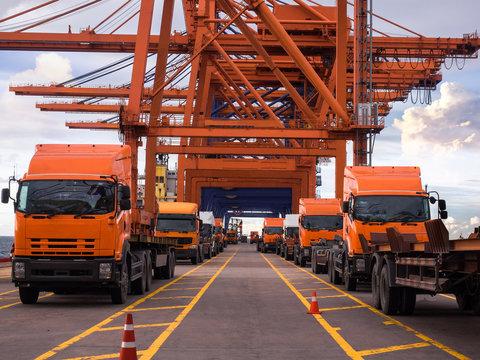 Trucks On Dock