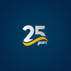 Fototapeta 25 Years Anniversary Celebration Elegant White Yellow Blue Logo Vector Template Design Illustration obraz