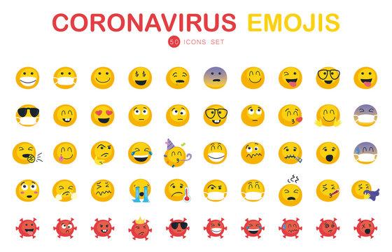 50 Coronavirus and emojis flat style icon set vector design