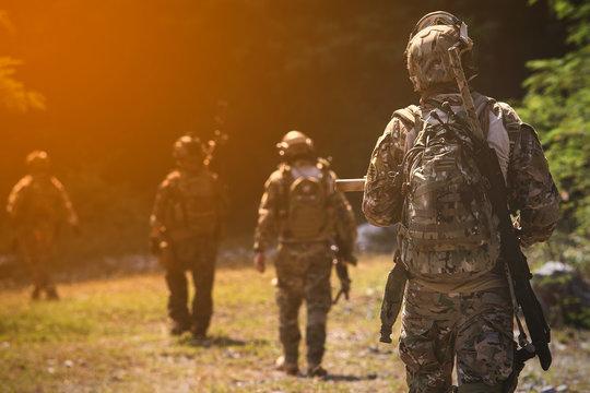 US Army soldiers, Soldiers walking away.