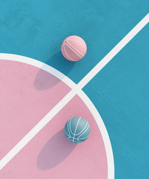 abstract pastel pink blue color basketball court with ball minimalistic composition. Balance concept. 3d render