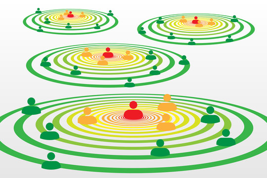 People silhouette symbols in concentric circles concept with Covid-19 contact tracing system with red, orange and green alerts - Social distancing