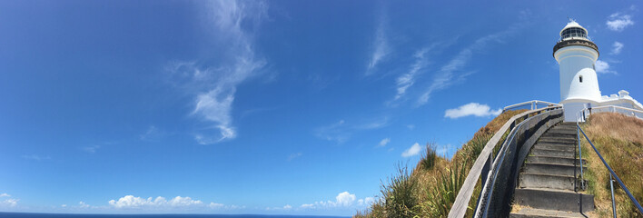 Panoramic landscape view of Byron Bay lighthouse lookout