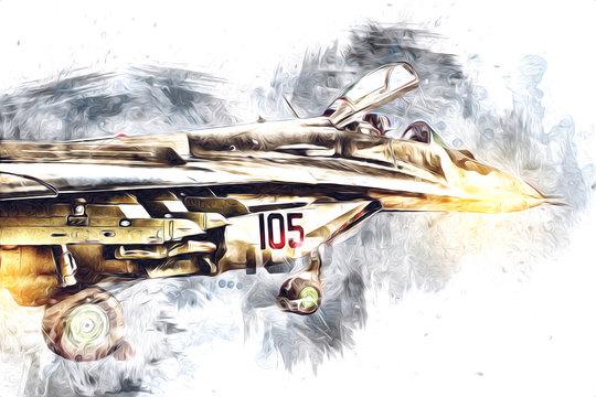 American jet fighter aircraft drawing illustration art vintage
