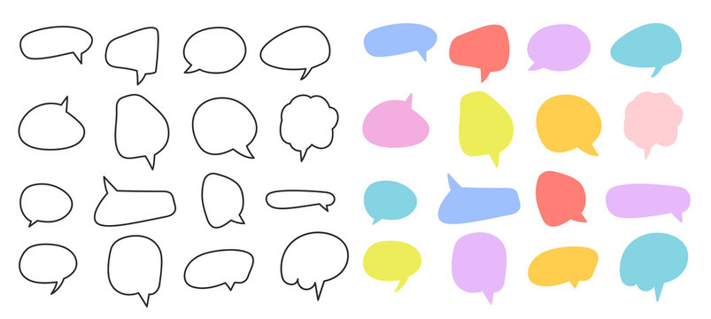 Hand drawn doodle and flat colourful  speech bubble vector. Banners, price tags, stickers, posters, badges. Isolated on white background.