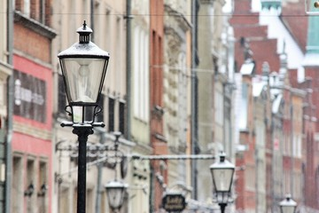 Close-up Of Street Light Against Building Fotomurales