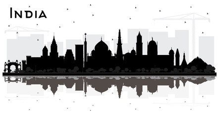 Wall Mural - India City Skyline Silhouette with Black Buildings and Reflections Isolated on White.