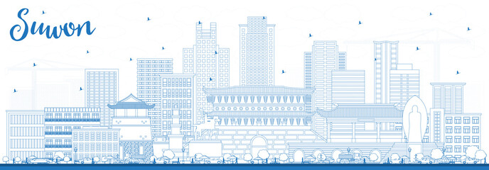 Wall Mural - Outline Suwon South Korea City Skyline with Blue Buildings.