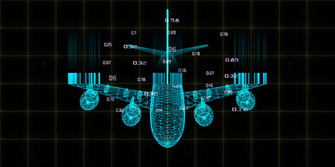 Abstract digital background with 3d grid airplane and blurred lines. Big data. Wireframe mesh plane analytical concept with lens effects.  Travel, tourism, transport. Wall mural