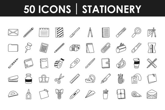 stationary icon set, line style