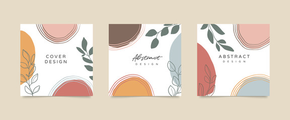 Fotobehang - Social media stories and post creative Vector set. Background template with copy space for text and images. Abstract coloured shapes, line arts , floral and leaves, warm color of the earth tone