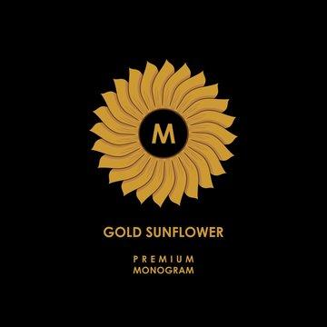 Golden sunflower. Template for creating logo, emblem, monogram. Vector.