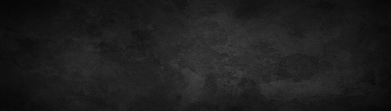 Rich black background texture, marbled stone or rock textured banner with elegant dark black and gray color and design