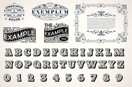 Art Nouveau, Art Deco stylish set for corporate identity design, template for emblems, signs, posters, logos. Bonus decorative font in art nouveau style. Vector