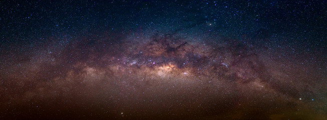 Panorama view universe space shot of milky way galaxy with stars on a night sky background.