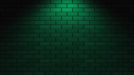 Black brick wall with green neon light with copy space. Lighting effect green color glow on brick...