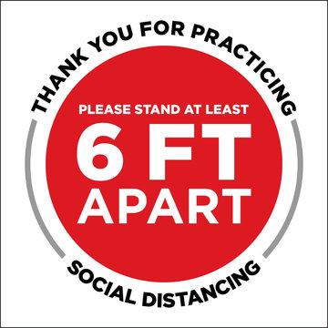 Thank You For Practicing Social Distancing Floor Graphic | 6 Ft Apart Reminder Sign | Six Feet Guidelines | Decal For Retail Businesses | Pandemic Rules | COVID-19