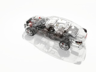 Wall Mural - Transparent model cars.